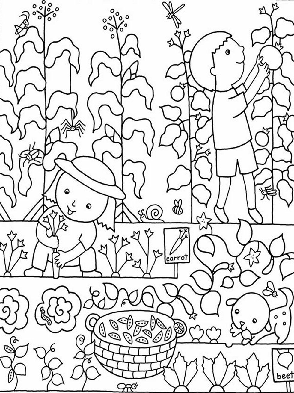 colouring pages garden kids gardening coloring pages free colouring pictures to colouring garden pages