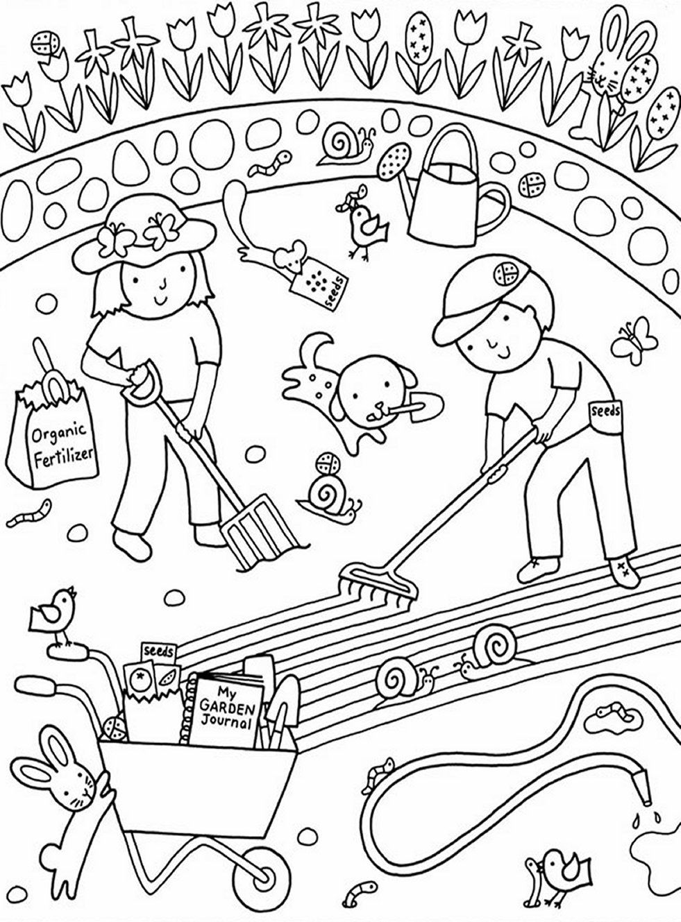 colouring pages garden kids gardening coloring pages free colouring pictures to pages garden colouring