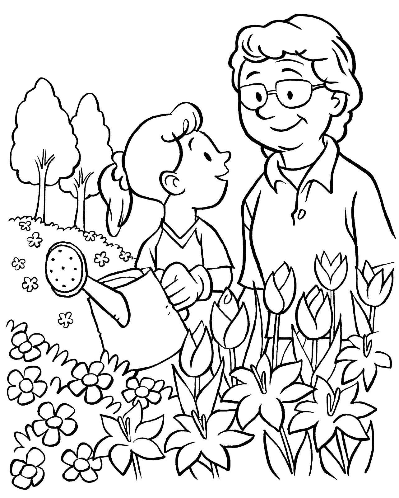 colouring pages garden watering the garden pages garden colouring