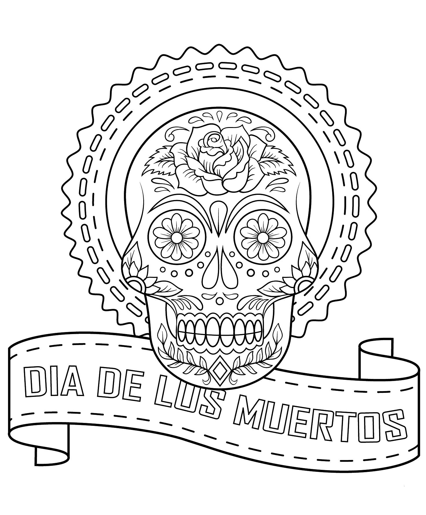 dia de los muertos printable coloring pages 30 free printable sugar skull coloring pages pages muertos de printable los coloring dia