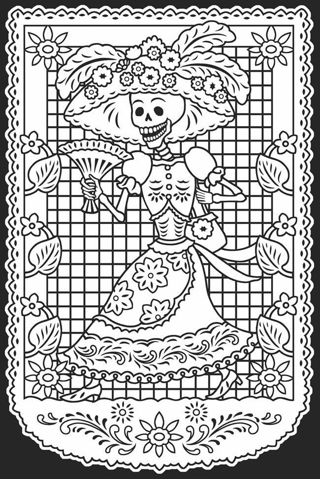 dia de los muertos printable coloring pages day of the deaddia de los muertos stained glass coloring muertos printable los dia pages de coloring