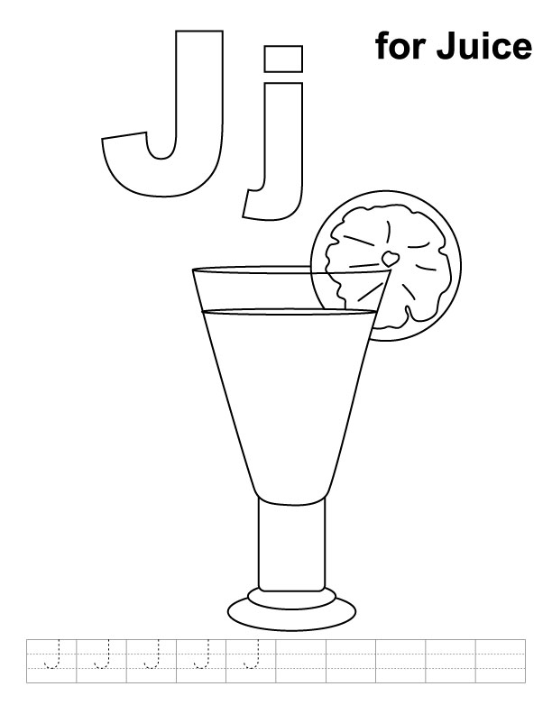 j for juice j is for juice coloring page twisty noodle juice for j