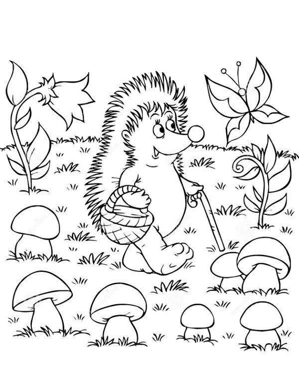 kolorowanki jesie jeż jerzy z zaczarowanym lesie modowopl jesie kolorowanki
