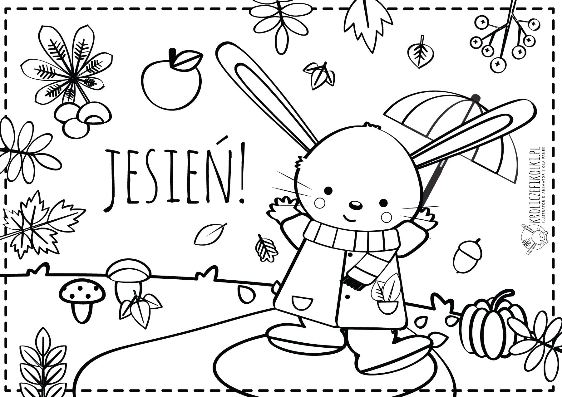 kolorowanki jesie jesienna kolorowanka z królikiem fikołkiem królicze fikołki jesie kolorowanki