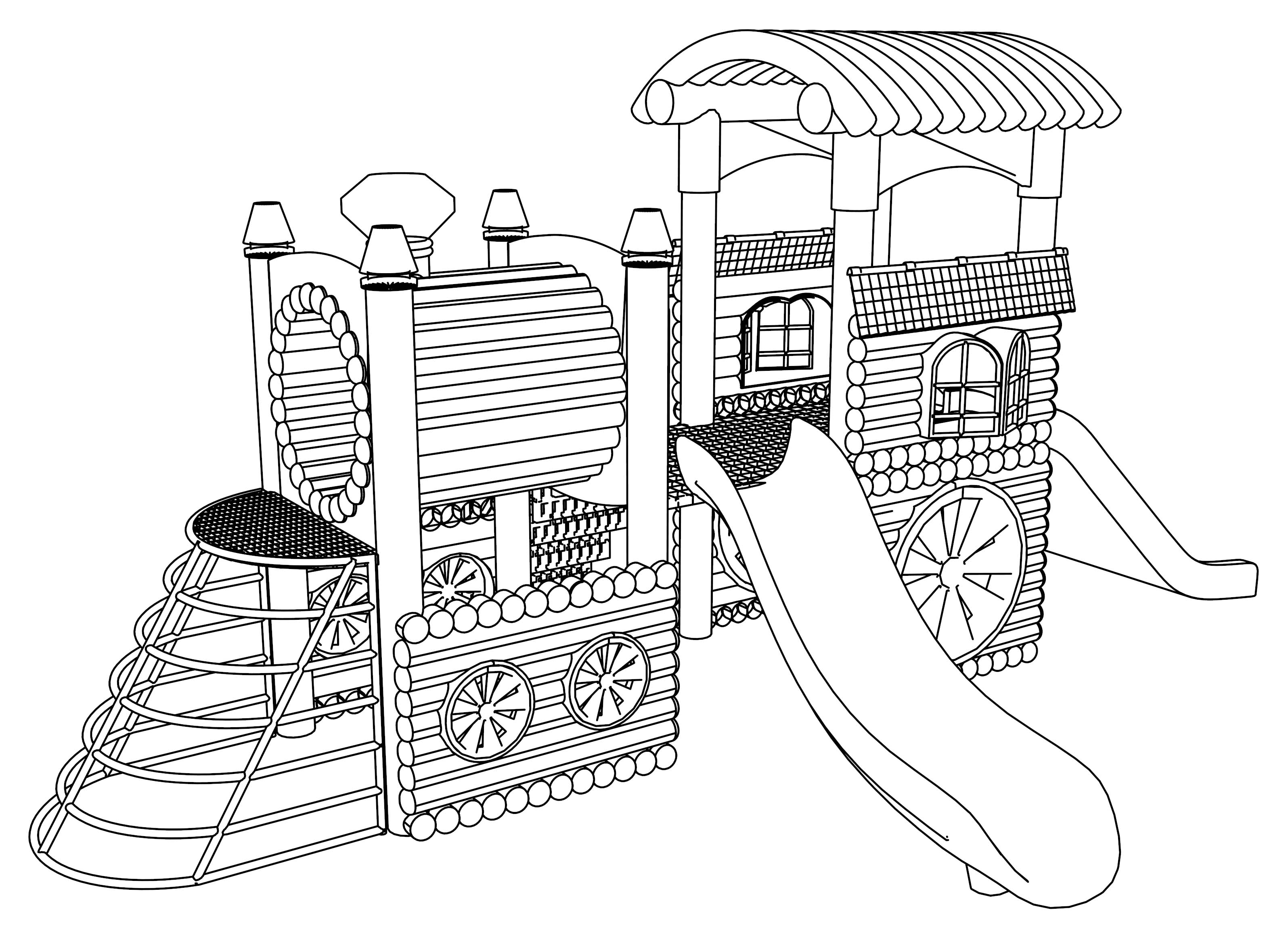 playground coloring pages pig on the playground slide coloring page free printable pages playground coloring