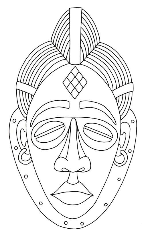 printable african masks coloring pages Čínský tisk masky a omalovánky jednoduchá čínština mask coloring printable masks african pages