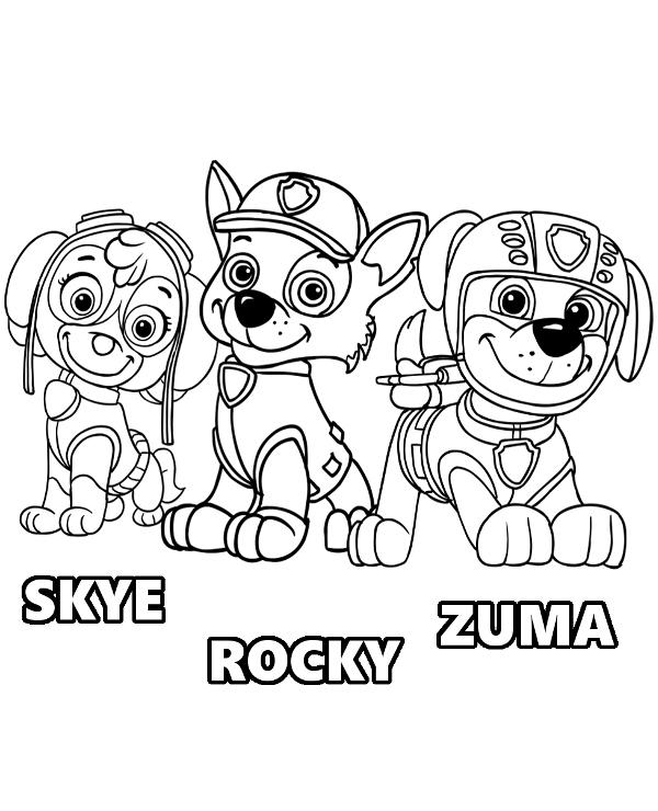 rocky paw patrol paw patrol rocky and marshall coloring page free rocky paw patrol