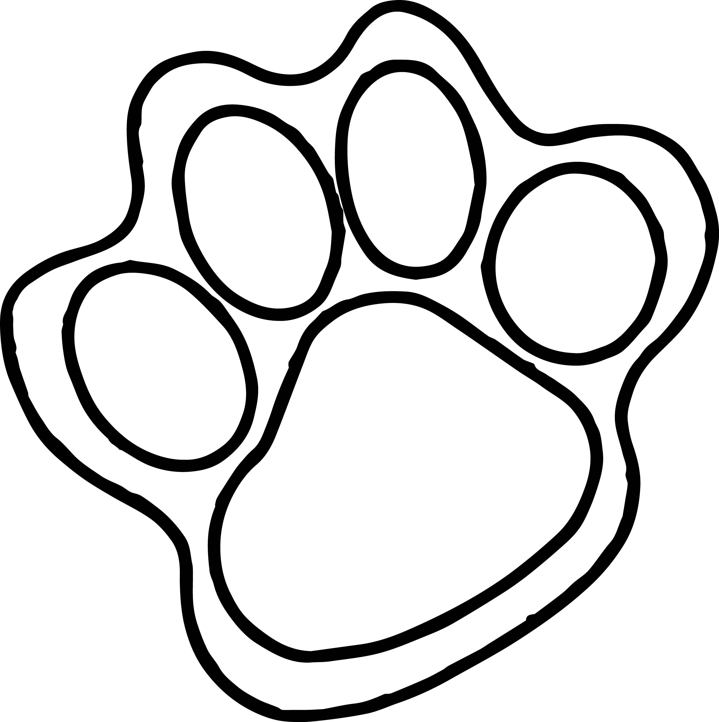 tiger paw coloring page paw print outline free download best paw print outline coloring page paw tiger