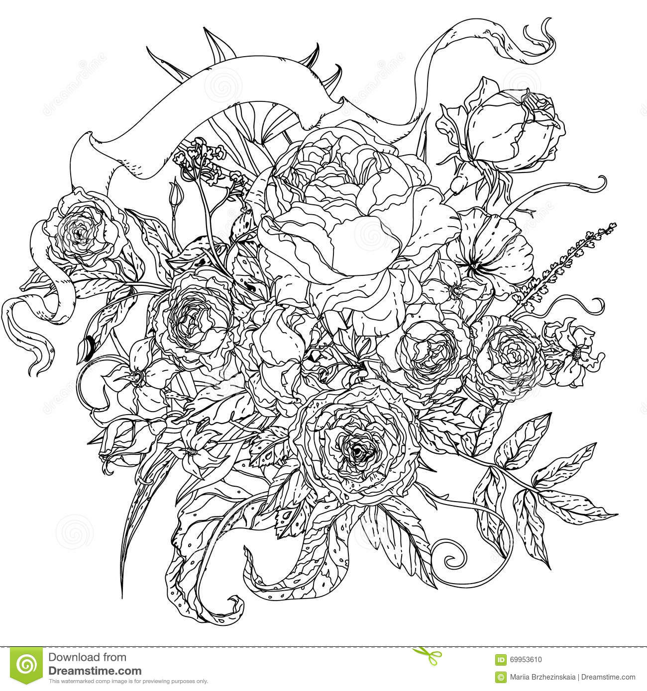 uncoloured pictures of flowers still life vintage glass basket luxurious stock vector uncoloured pictures flowers of