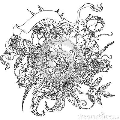 uncoloured pictures of flowers still life with flowers stock vector illustration of flowers pictures uncoloured of