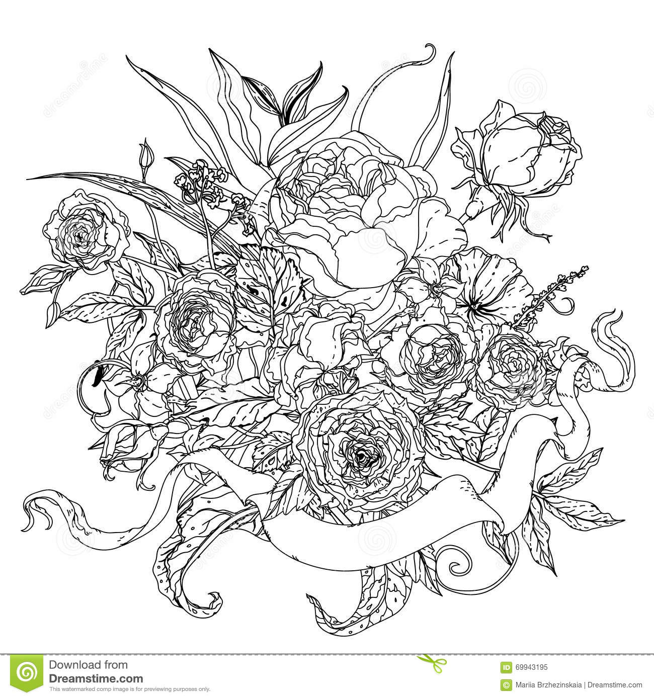 uncoloured pictures of flowers still life with flowers stock vector illustration of uncoloured of pictures flowers