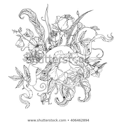 uncoloured pictures of flowers uncolored flowers and ribbon for text stock vector of uncoloured pictures flowers