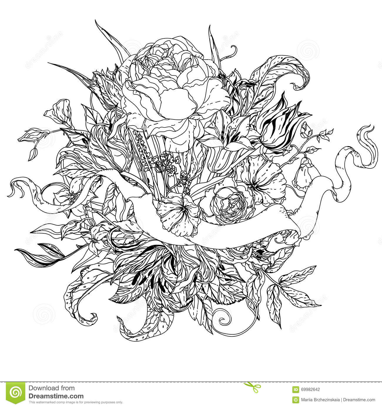 uncoloured pictures of flowers uncolored flowers and ribbon for text stock vector uncoloured pictures flowers of