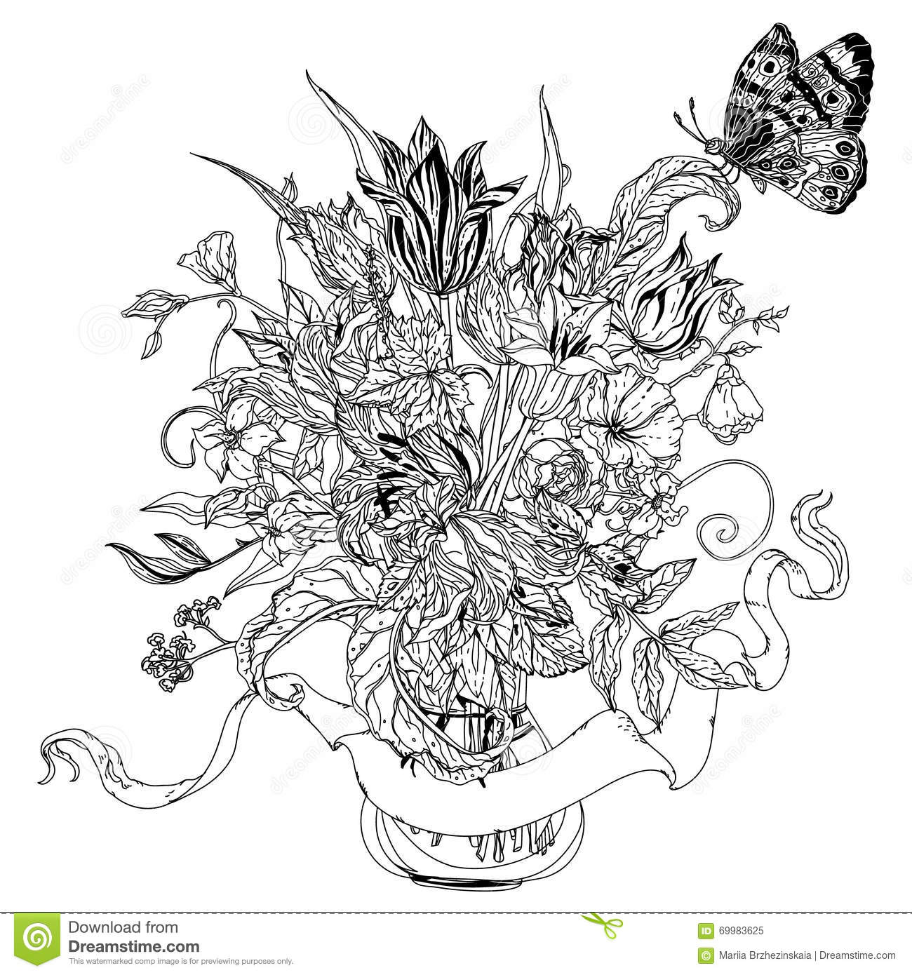 uncoloured pictures of flowers uncoloured stock photos images pictures shutterstock flowers of pictures uncoloured
