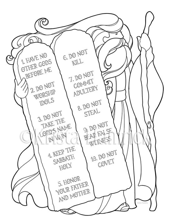 10 commandments coloring page moses and the ten commandments coloring page in two sizes coloring 10 commandments page