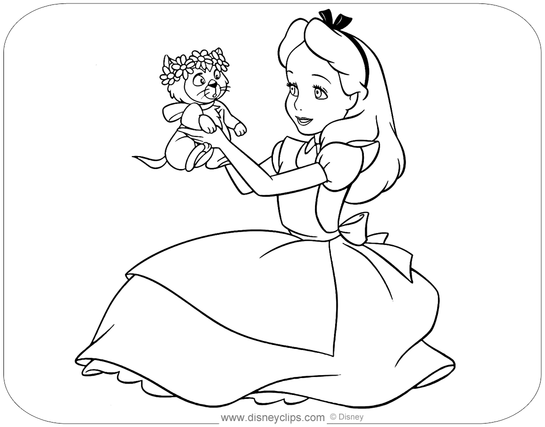 alice in wonderland coloring pages alice in wonderland coloring pages 2 disneyclipscom coloring alice wonderland pages in