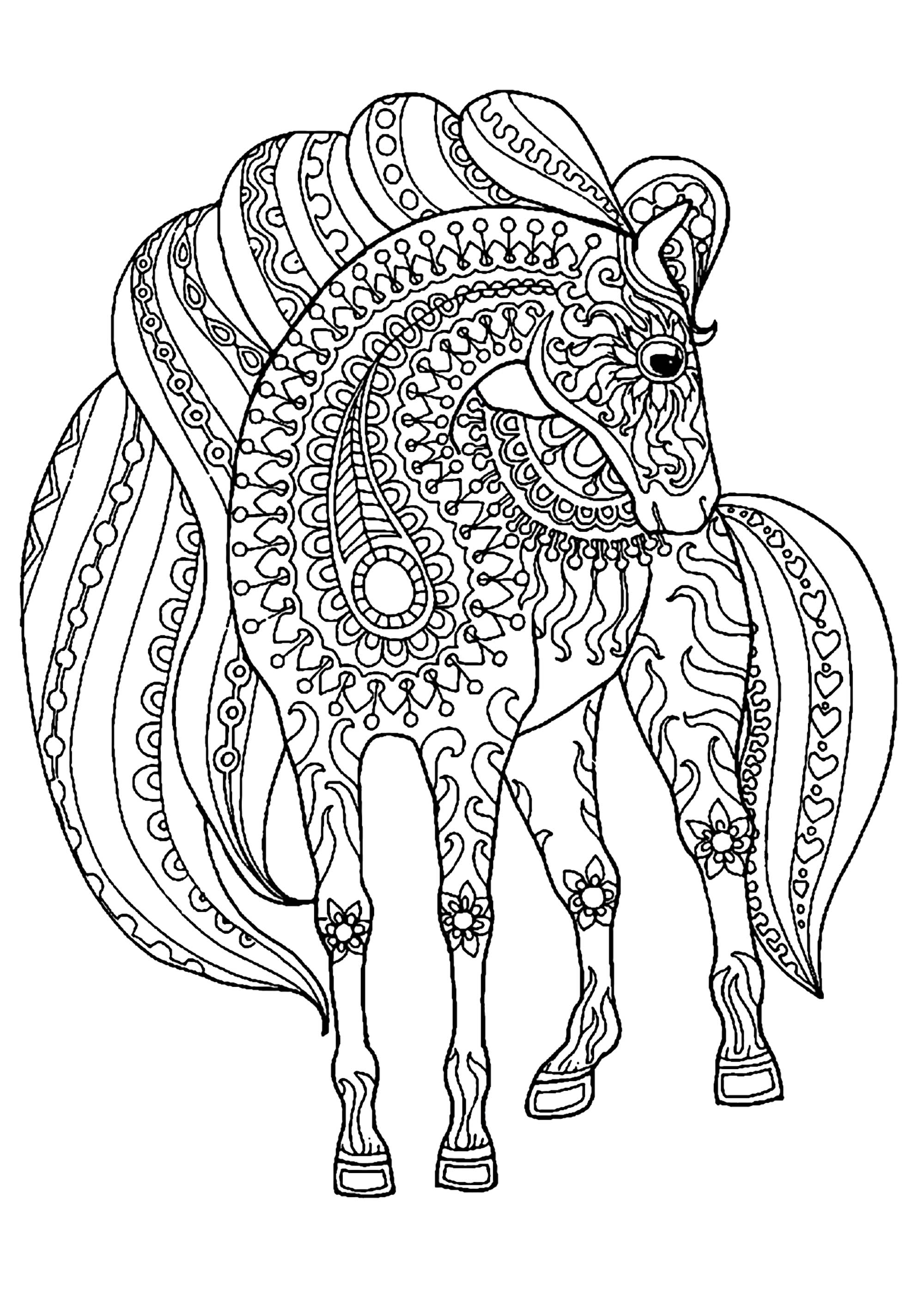 animal pattern colourings horse simple zentangle patterns horses adult coloring pages animal colourings pattern