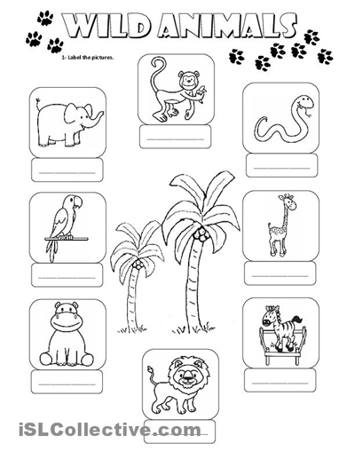 animal printables for kindergarten 14 best images of wild animals worksheets for preschoolers for printables animal kindergarten