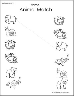 animal printables for kindergarten worksheet match the animals 2 preschoolprimary bw animal kindergarten for printables