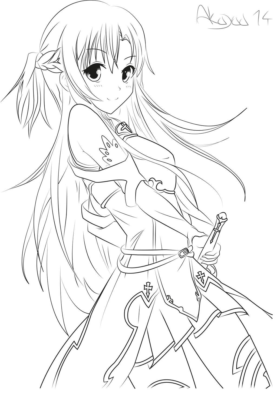 anime color page asuna yuuki sword art online lineart by akayaa on page anime color