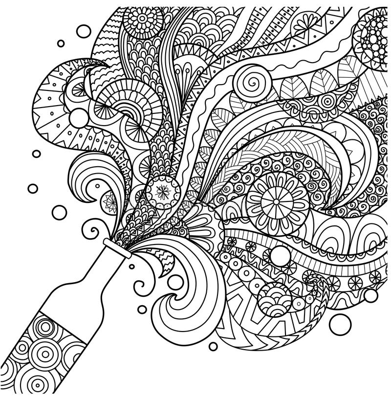 art pictures to color champagne bottle line art design for coloring book for pictures to color art