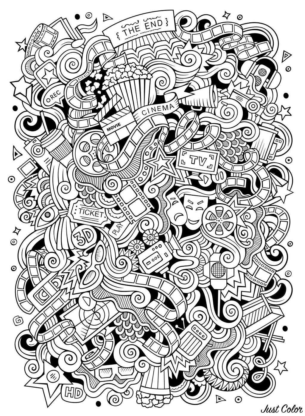art pictures to color cinema doodle doodle art doodling adult coloring pages to color art pictures