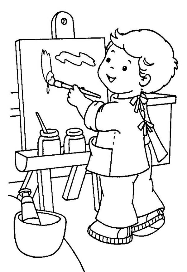 art pictures to color little painter in kindergarten coloring page coloring sky to art color pictures