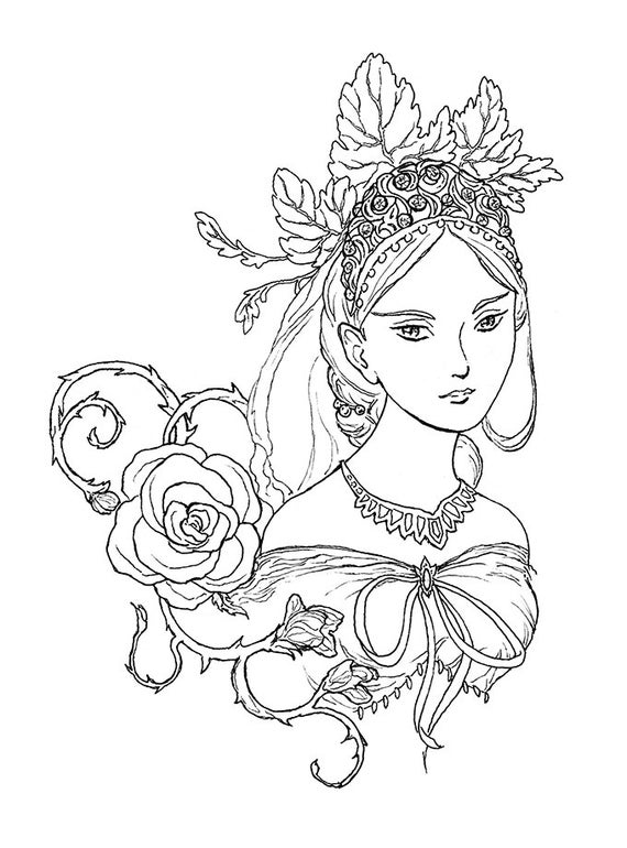 art pictures to color tatiana fairy queen portrait ink drawing coloring page art to pictures color