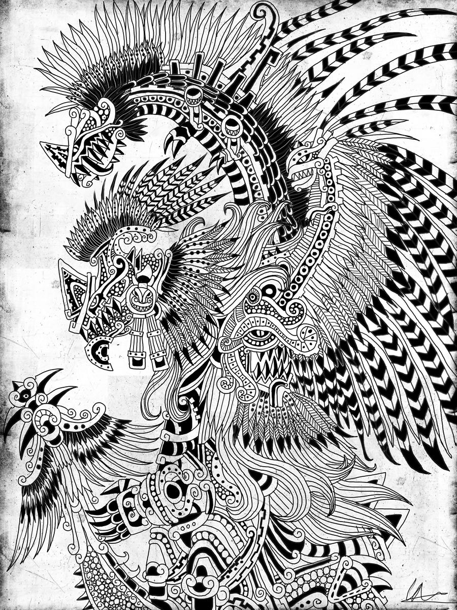 aztec art into the faery woods there be dragons aztec art