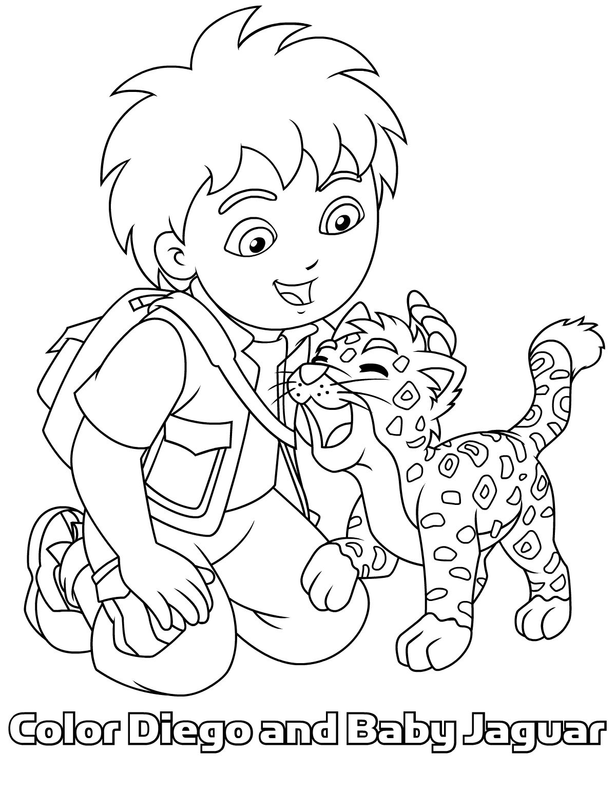 baby jaguar coloring pages diego en baby jaguar samen op 1 kleurplaat kleurplaten coloring pages jaguar baby