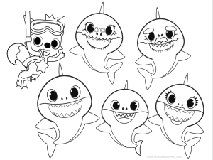 baby shark coloring page pinkfong and baby shark coloring sheet printable theme coloring page shark baby