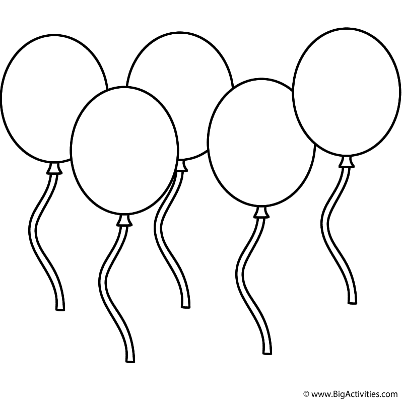 balloons to color five balloons coloring page new years to balloons color
