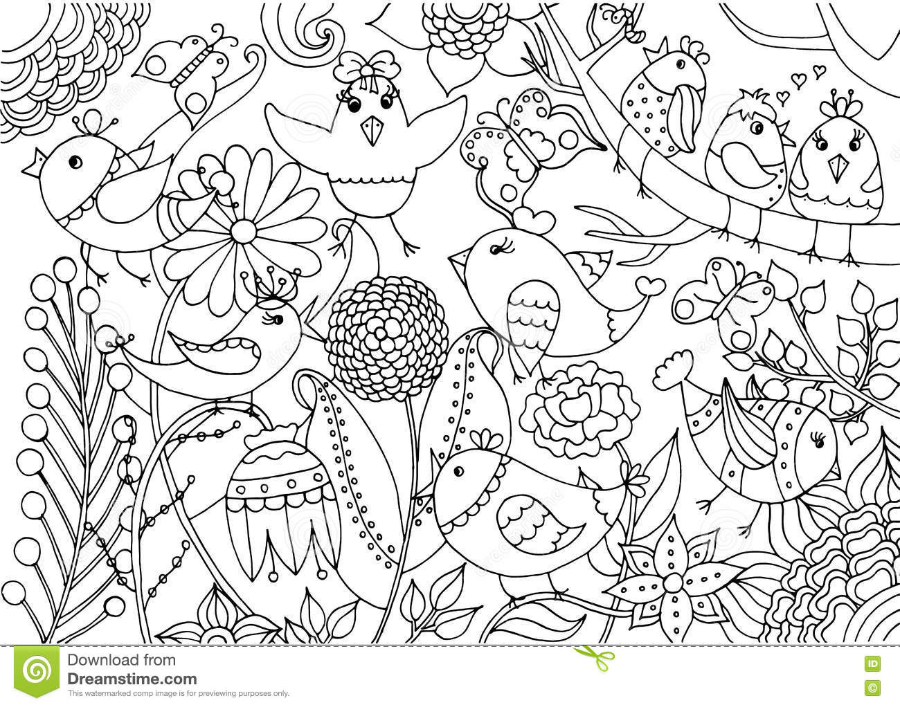 birdsandblooms coloring book birds and flowers coloring page stock vector coloring birdsandblooms book