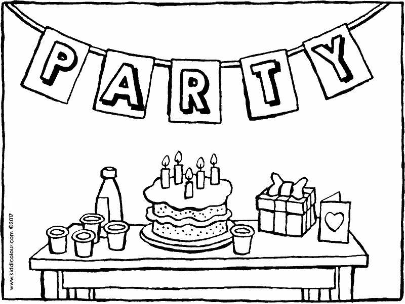 birthday party coloring page birthday coloring page kids about to have cake at the party coloring birthday party page