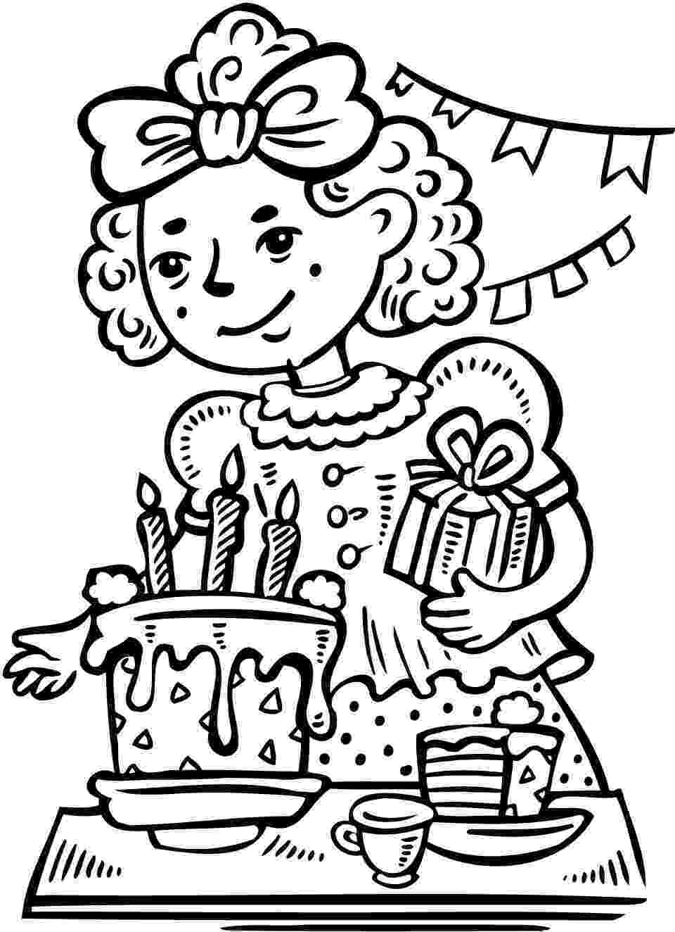 birthday party coloring page two kids smiling birthday party coloring pages netart coloring party birthday page