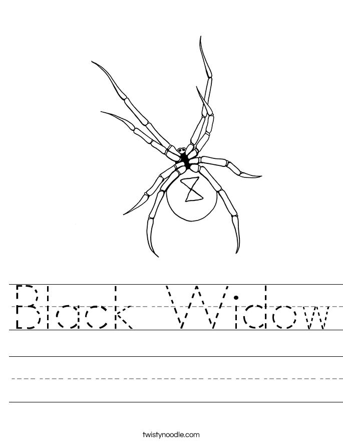 black widow spider coloring page black widow worksheet twisty noodle black page coloring spider widow