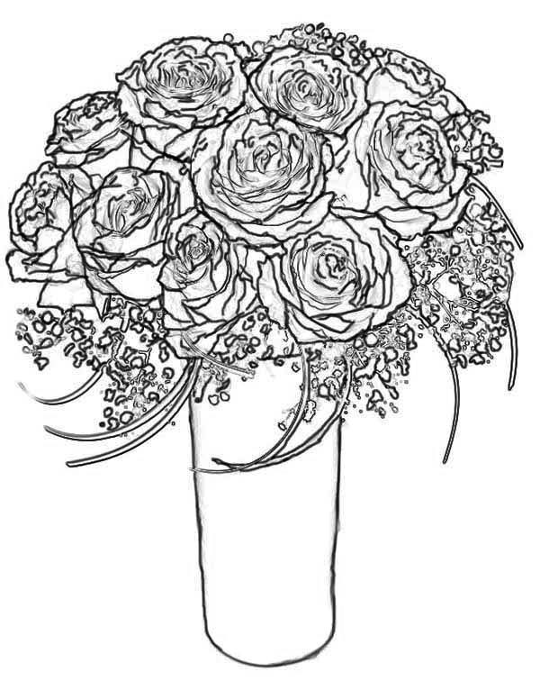 bouquet of roses coloring pages beautiful bouquet of hearts and roses coloring page bouquet roses pages of coloring