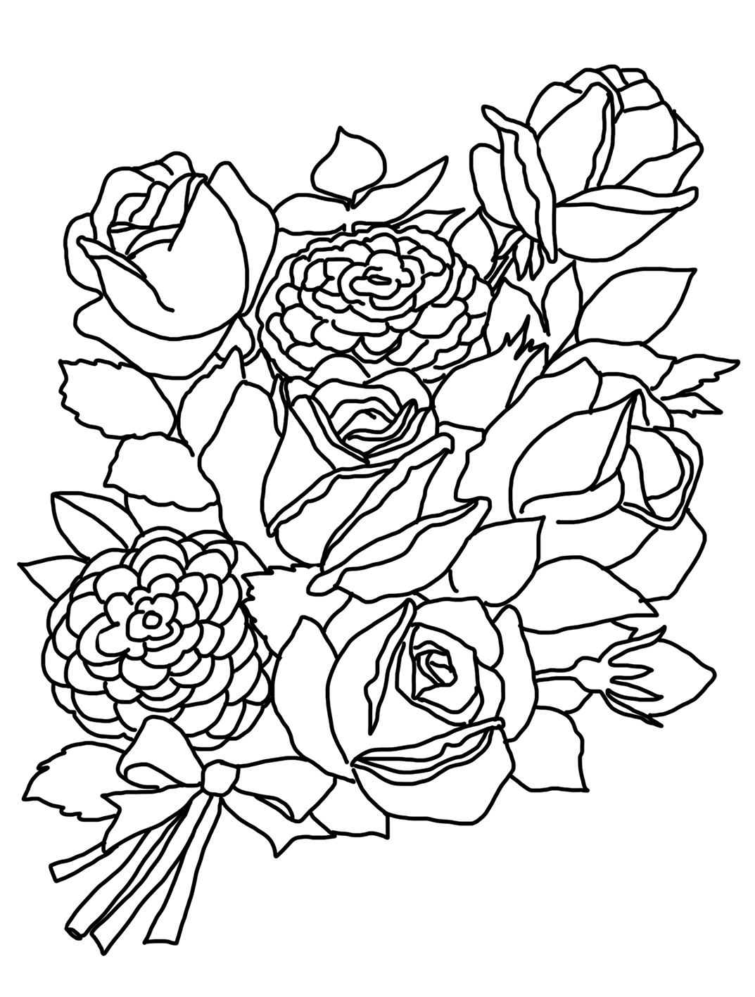 bouquet of roses coloring pages bouquet of roses coloring page free printable coloring pages of bouquet coloring pages roses