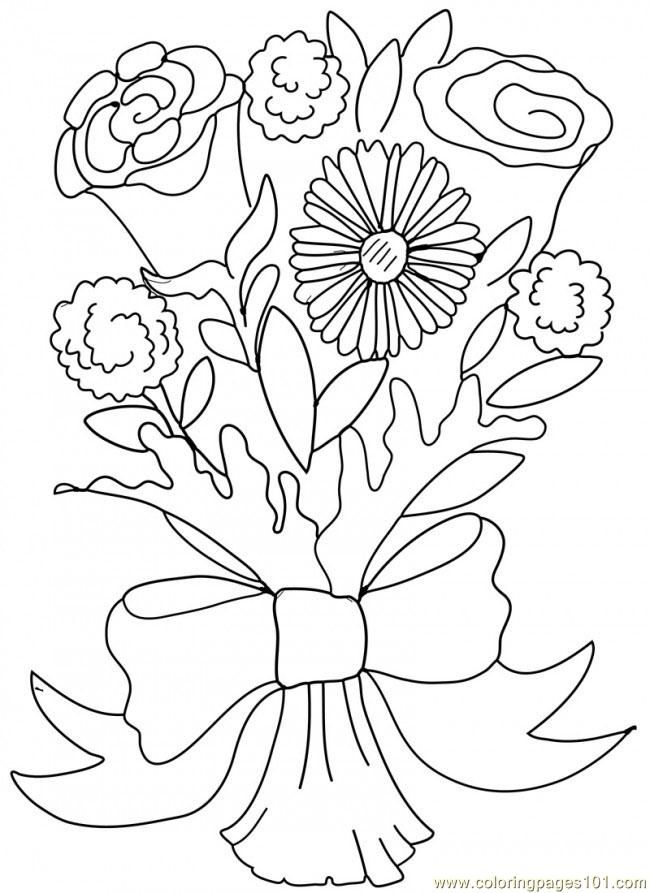 bouquet of roses coloring pages bouquet of roses in vase coloring page for kids flower roses of bouquet coloring pages