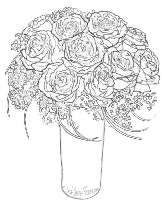 bouquet of roses coloring pages colouring pages bouquet flowers free printable for toddler of roses pages coloring bouquet