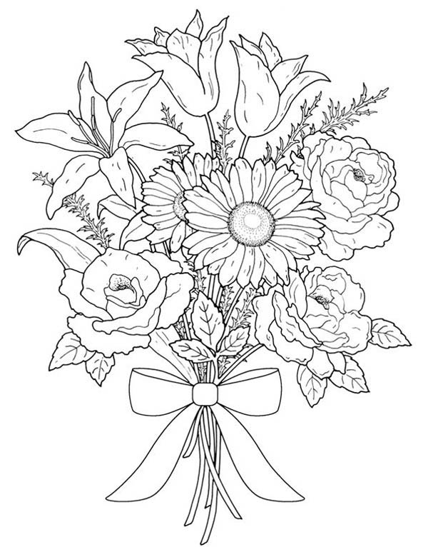 bouquet of roses coloring pages flower bouquet for valentine day coloring page color luna pages of coloring roses bouquet
