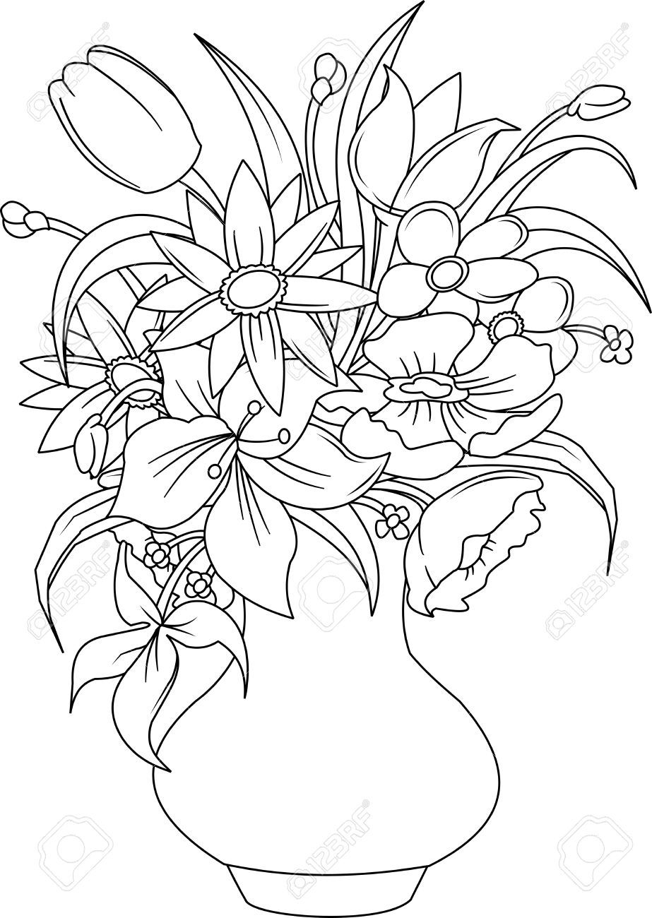 bouquet of roses coloring pages rose bouquet drawing at getdrawingscom free for of bouquet roses pages coloring