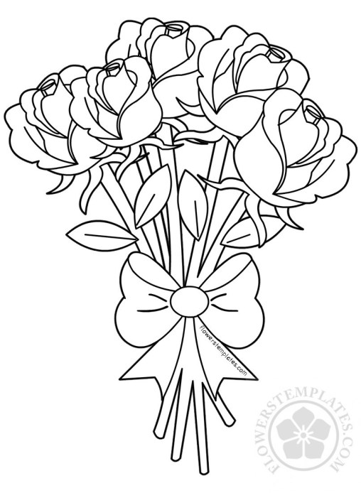 bouquet of roses coloring pages roses flowers templates coloring of roses bouquet pages