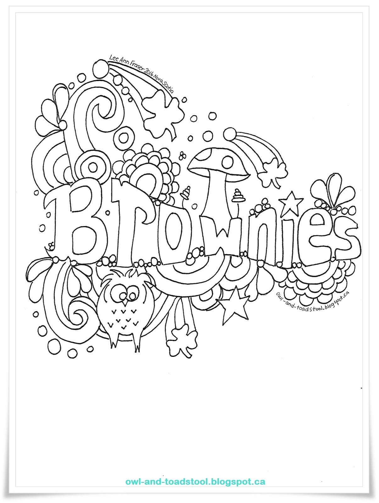 brownie coloring pages printable owl toadstool doodle brownies pages printable brownie coloring