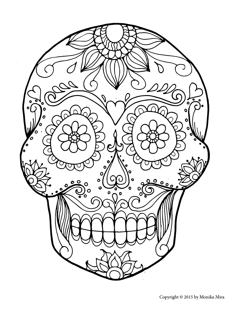 candy skull coloring pages sugar skull with flowers coloring page free printable coloring skull pages candy