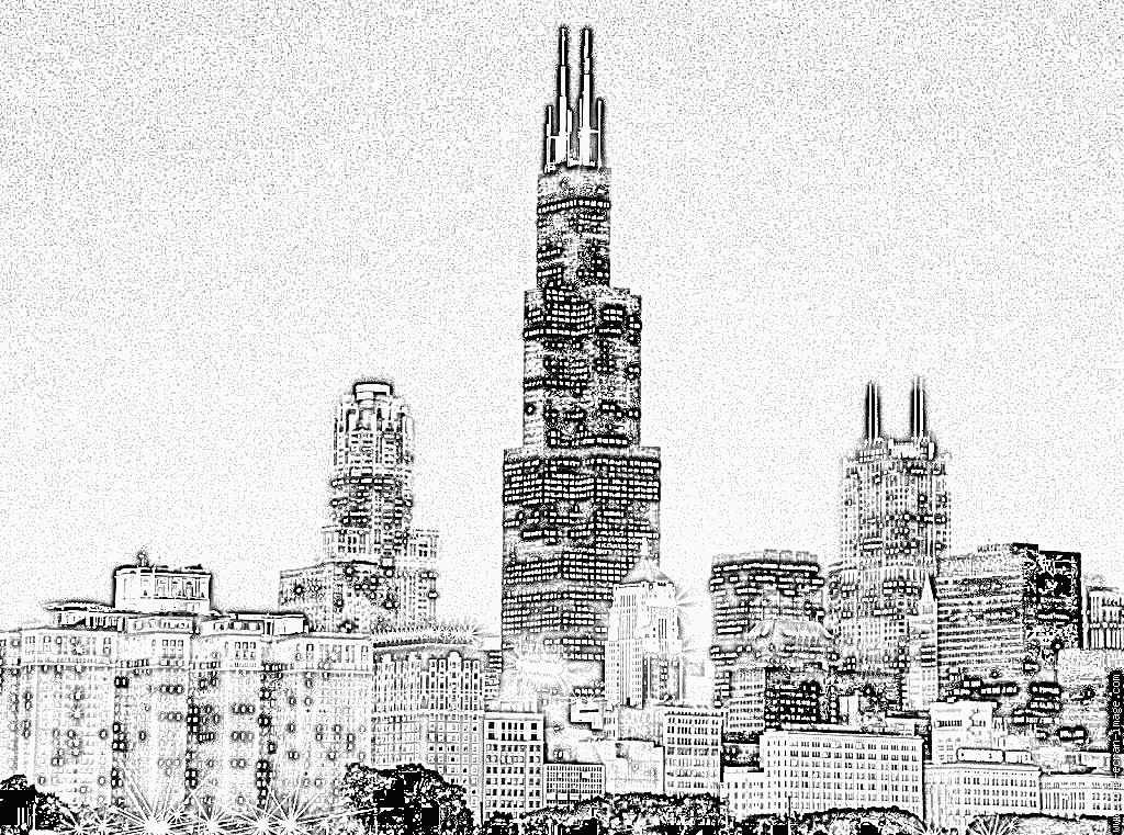 chicago skyline coloring page city skyline drawing at getdrawingscom free for coloring skyline page chicago