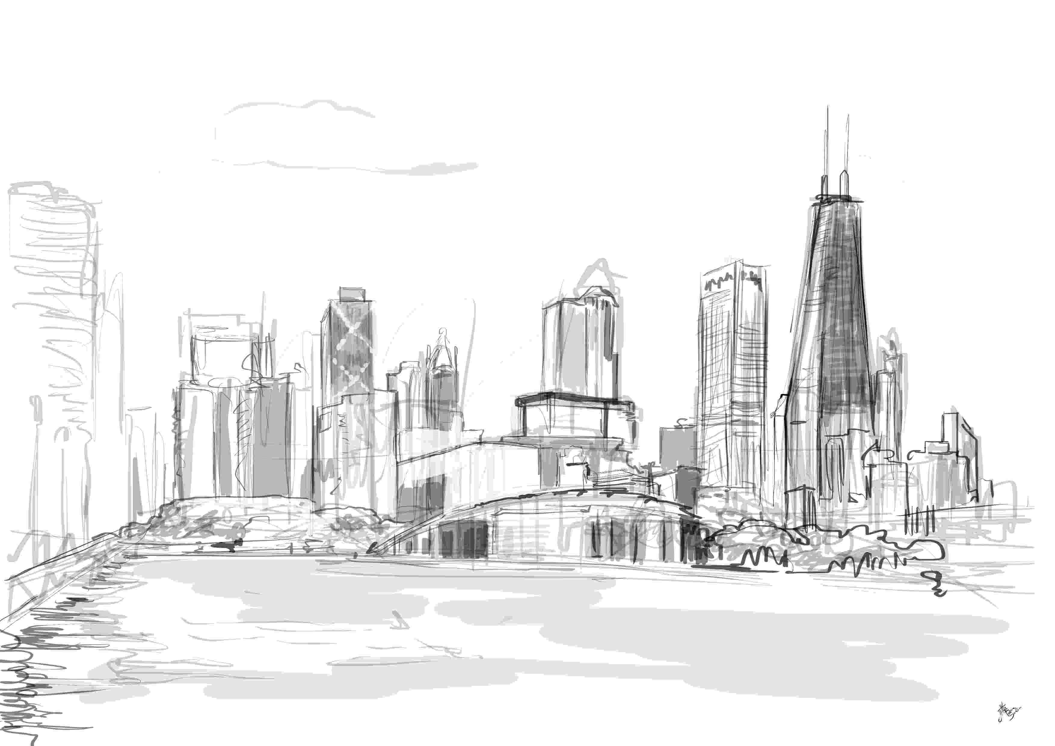 chicago skyline coloring page related image chicago skyline outline drawings easy skyline chicago page coloring