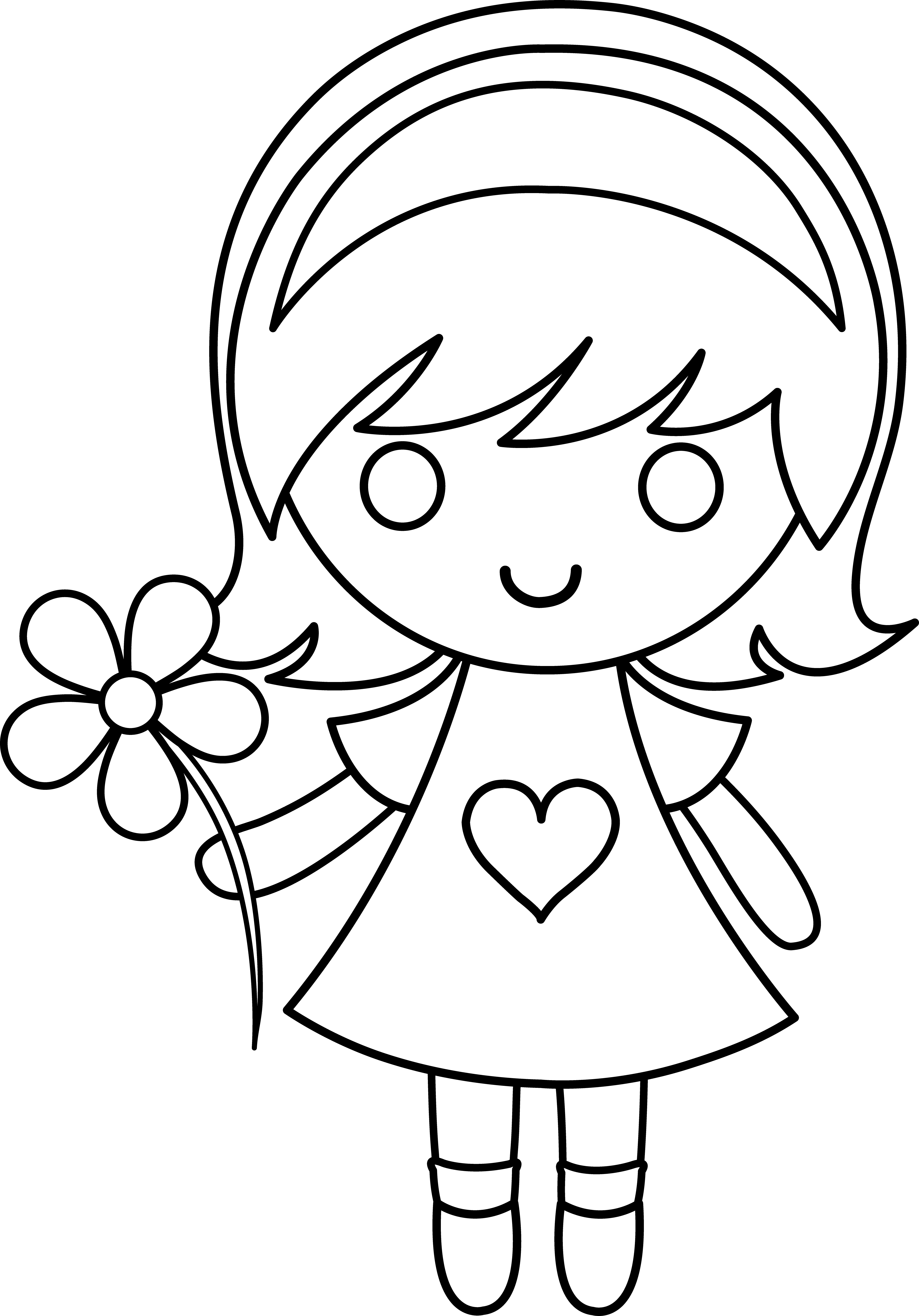 clip art coloring pages daisy girl colorable line art free clip art pages art clip coloring