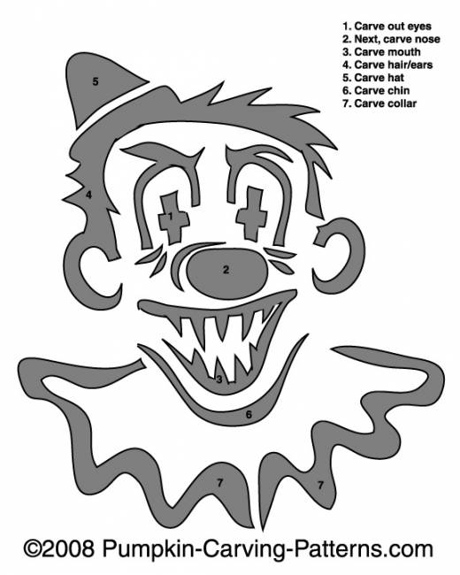 clown stencil printable template halloween pinterest pumpkin carvings clown stencil printable