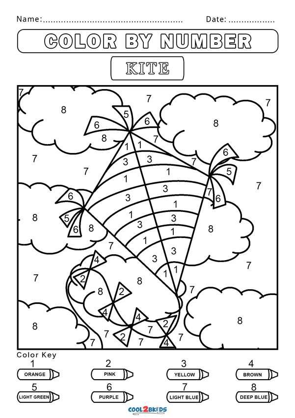 color by number worksheets free easy color by numbers coloring pages getcoloringpagescom number color worksheets free by